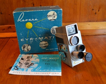 Movie Camera Vintage 1950s Revere Eye-Matic 8mm In Box Collectible Metal