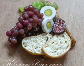 1:12 Dollhouse Miniature Food, Dollhouse Miniature Food, Polymer Miniature Lunch Food, Polymer Grapes