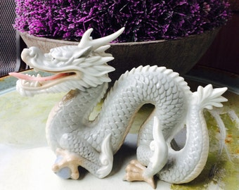 Asian Decor, Porcelain Dragon Statue, Chinese Dragon Serpent, Asian Dragon