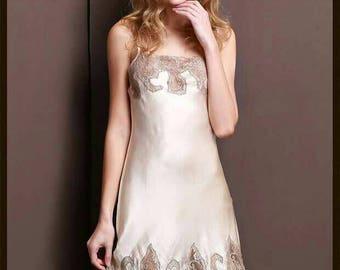 silk 100% slip lace embroideredsilk slip-nightdress-luxurious pure silk dress-low back dress-floral dress-sleeveless dress