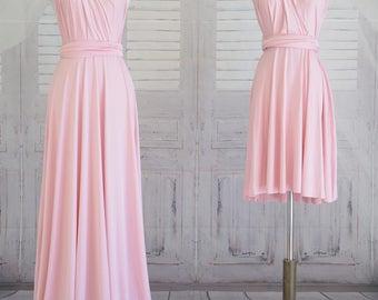 Rose Quartz Bridesmaid Dress Wrap dress Convertible Infinity Dress Evening Dress-B25#C25#