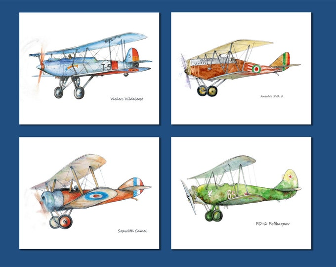Airplane decor Set of FOUR prints for boys nursery Vintage military propeller airplanes Aviation decor Baby boy room wall art