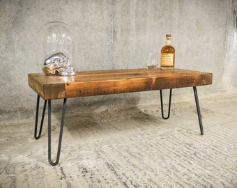 OLDFIELD | Coffee Table | Reclaimed Timber with Steel Hairpin Legs