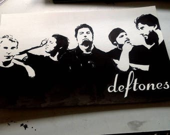 "DEFTONES original unique ink drawing portrait 18"" x 12"""