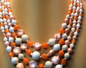 Vintage White Peach Orange Necklace