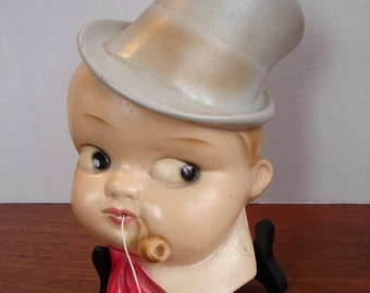 1930's Rarer Chalkware Boy With Top Hat String Dispenser, Wall Mounted, Boy Smoking Pipe, Grey Top Hat, Red Neck Tie, 'C' Marking,