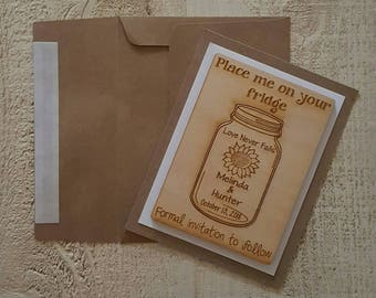 Save the Date Magnets with Frame and Envelope, Sunflower Mason Jar  Wedding Favor, Qty 10, Bride, Groom, Wedding Favour