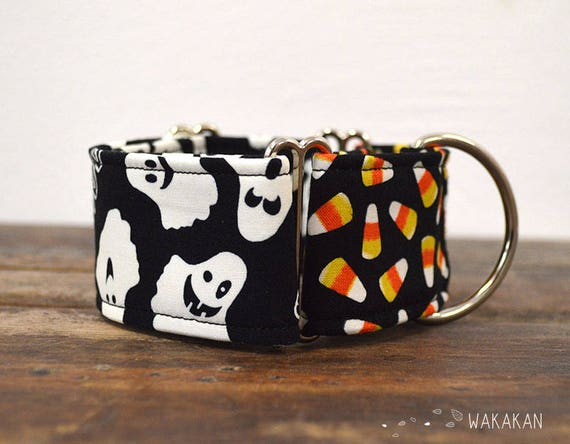 Martingale dog collar model Boo. Adjustable and handmade with 100% cotton fabric. Glow in the dark fabric. Wakakan