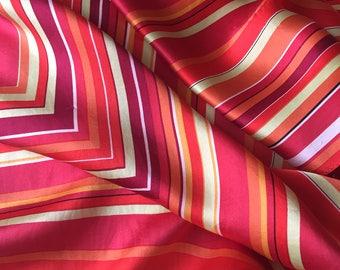 Vintage Marja Kurki bright red orange striped silk scarf