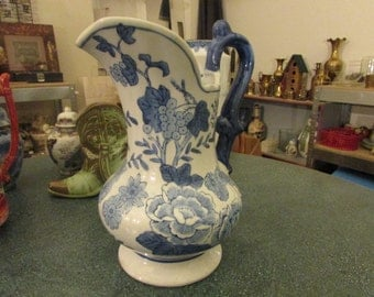 Vintage Silvestri Hand Painted Blue & White Large Ceramic Pitcher