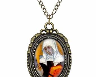 St Delphine de Sabran Catholic Necklace Bronze Medal w Chain Oval Pendant Saint Vintage