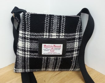 Harris Tweed Small Black and White Bag