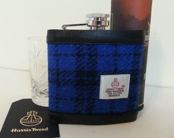 Harris Tweed Hip Flask / Leather / Cobalt Blue