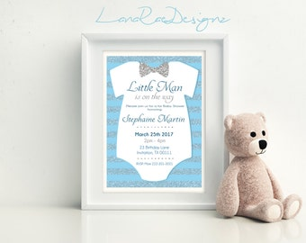 Little Man baby shower invitation , Oh Boy Baby Shower Invitation - - Digital File