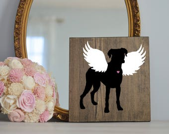 Boxer Angel Wing Silhouette, Remembrance Sign, Dog Memorial, Loss of Dog, Boxer Dog Portrait, Boxer Artwork