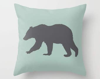 Bear pillow with insert Cover - Green and Grey Decor - Bear Cushion Cover - Modern Home Decor - By Aldari Home