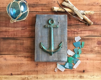 "Anchor Wall Hanging on Reclaimed Wood 6.5"" x 9.75"""