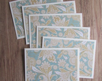 6 Paisley Note cards-Blank card sets,thank you cards,pretty stationery,Hostess/Teacher/Bridesmaid/Teen gift idea,Handmade/Homemade cards