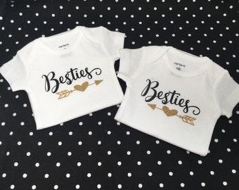 Besties Matching Onesies,  Little Besties, Hospital Outfit Matching, Twins Glitter, Carters