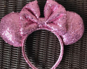 Pink Full Sequin Minnie Mouse Ears