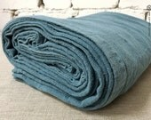 Dusty turquoise linen bed cover- King Queen single size- Custom sizes bedspread-Dusty turquoise bedspread