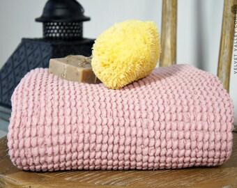 SALE-Linen cotton dusty pink bath towel- Waffle textured sherbet rose linen towel- Softened linen washcloth- Beach towel-Travel towel