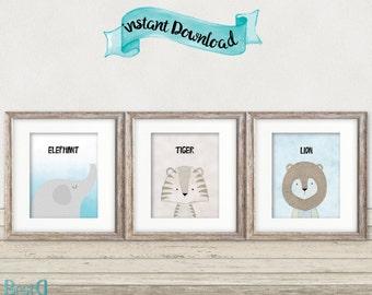 Set of 3 baby animals prints,nursery animals printable,animals nursery,baby room decor,tiger printable,elephant printable,lion printable