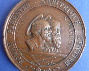 Large Bronze Religiuos Medal, 1867 of Pope Pius IX. Depicting St Peter & St Paul. A Desirable Old Medal.