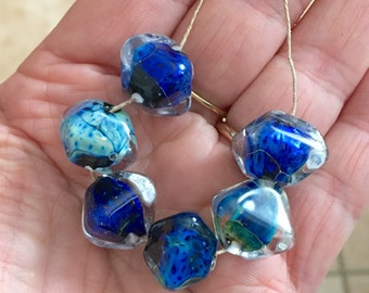 2+  Blue multicolor bicone beads  handmade lampwork  murano glass bead
