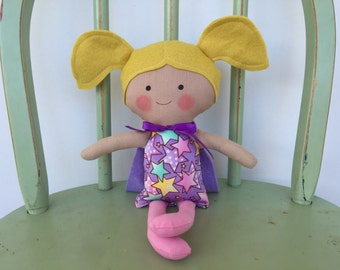 """Little girl """"Super Hero"""" doll, pink and purple, perfect for imaginative play!"""