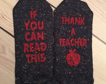 Teacher Socks, teacher gifts, thank a teacher, christmas, holiday gifts, teacher appreciation, gifts under 15, unique gifts
