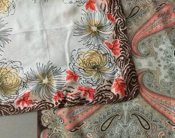 Beautiful 1940's silk handkerchiefs