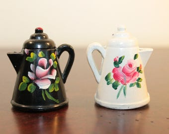 PAIR - Cast Iron Black and White Tea Kettle Salt and Pepper Shakers