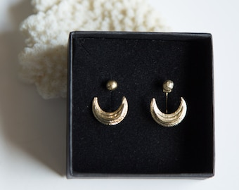 RESERVED FOR SUSAN // Eclipse ear jacket : moon crescent, faceted ball, golden brass, earrings, esoteric style, original, golden earjacket