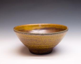 Salt Fired High-Iron Stoneware Bowl - Yellow Glaze, 0419007