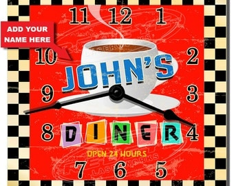 Classic Diner Personalized Kitchen Wall Clock