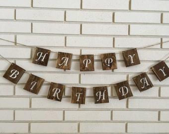 Rustic Happy Birthday Wood Block Banner