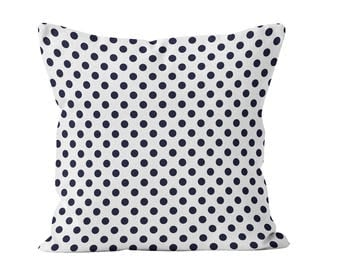Navy Blue Polka Dot Pillow Cover, 18x18 polka dot pillow cover