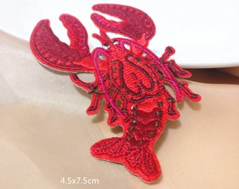 Wholesale bulk lot    2pcs red lobster embroidered iron on patch 4.5x7.5cm