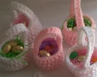 Crochet Party Baskets, Set of 5, Birthday Baskets, Party Favor Baskets, Kids Basket,  Party Favors