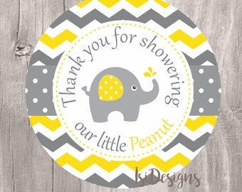 Elephant Favor Tags, Printable Yellow and Grey Chevron Elephant Baby Shower Favor Tags, Instant Download, Little Peanut Favor Tags