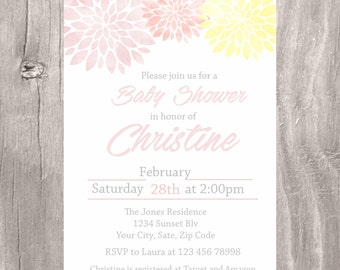 Baby Shower Invitation, Pink and Yellow Baby Shower Invite, Printable Floral Baby Shower Invitation, Pink and Yellow Girl Baby Shower