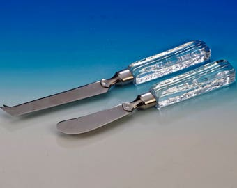 Vintage butter u. Cheese cutlery with Crystal handles