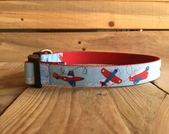 "Airplane Dog Collar, Red Dog Collar, Blue Dog Collar, Quick Release Buckle, 1"" width"