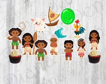 Moana Cupcake Toppers/Moana Birthday/Moana Party/Princess Party/Moana Toppers/Cupcake Toppers