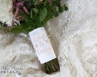 Custom Monogram Bridal Bouquet Wrap ~ Round Flourish Accent