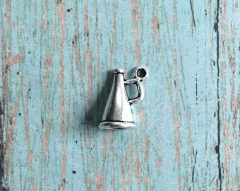 8 Megaphone charms 3D antique silver tone - silver megaphone pendants, cheerleader charms, high school charms, cheer team charms, O11
