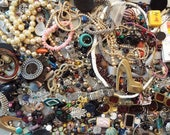 Grab Bag of Junk Jewelry Parts, Mystery Lot of Vintage Jewelry Pieces, Destash Jewelry Making Supplies, Bulk Lot 3+ Pounds