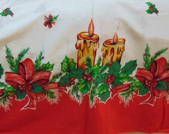 Christmas Fabric, Sewing Supplies, Table Top, Christmas Tree Skirt, Christmas Decoration ,Candles