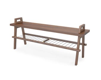 "48"" entryway/hallway storage bench with shoe rack in walnut"